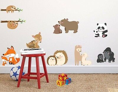 woodland animal family wall sticker 8 couple Mom and baby nursery wall art decal