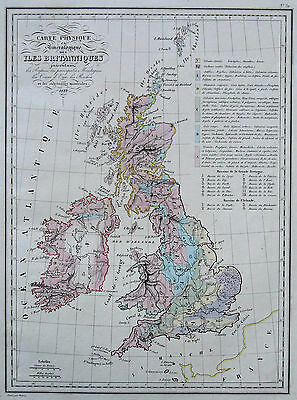 Malte-Brun: Original Copperplate Map Geology Great Britain Ireland; 1837