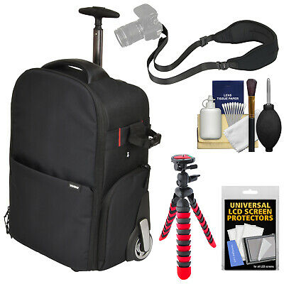 Vivitar Series 1 Trolley DSLR Camera Backpack Case with Wheels + Kit