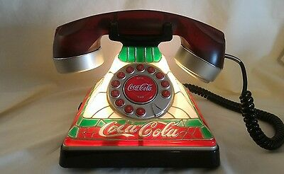 Coca Cola Stained Tiffany Glass Look Phone Lights Up to Answer FREE 4 AA