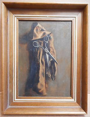 Still Life with hanging Scissors and Glove. Original Oil on canvas, circa 1920