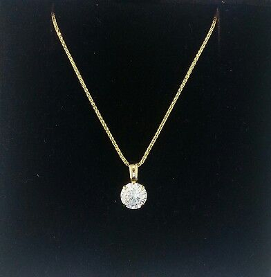 1 Ct Round Cut 14K Yellow Gold Solitaire Pendant Necklace Square Wheat Chain