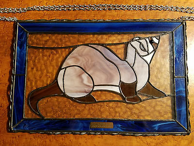 Vintage Stained Glass Ferret Window Sun Catcher Hanging Blue brown white 1996