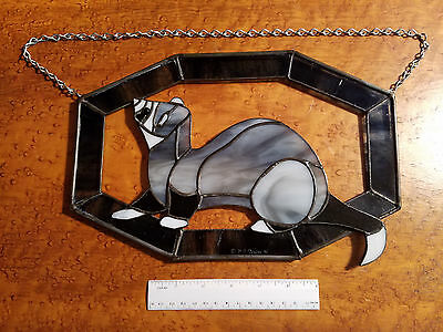 Vintage Stained Glass Ferret Window Sun Catcher Hanging Blue gray silver 1995