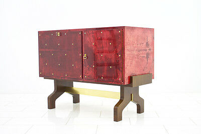 Red Goatskin Sideboard and Bar and refrigator by Aldo Tura Milano, 1968
