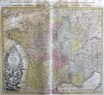 Homann: Original Altkol. Copperplate Map France Paris; 1741