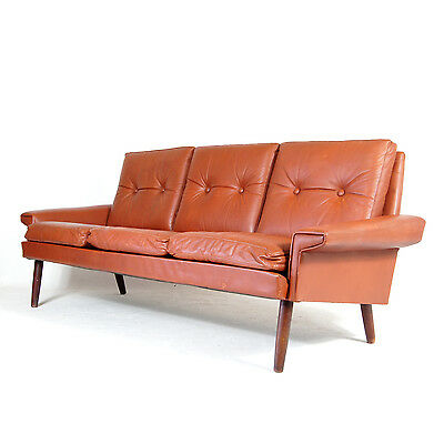 Retro Vintage Danish Large Teak 3 Seat Seater Leather Sofa 50s 60s 70s Skippers