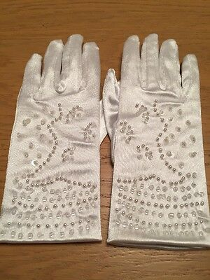 *NEW* Girls White Satin Pearl Bridesmaid/Communion Gloves By LITTLE PEOPLE