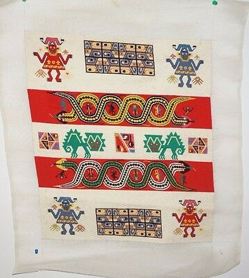 Vintage Needlepoint Tapestry Hand Embroidered Mexican/Inca Theme