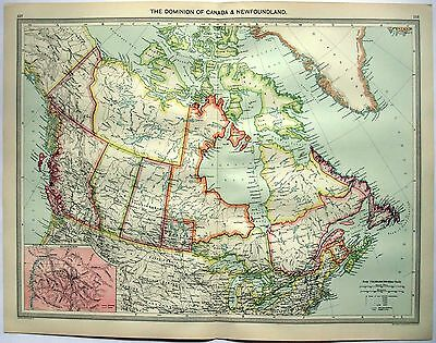 Original Map of The Dominion of Canada & Newfoundland c1906 by George Philip