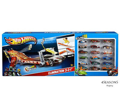 Hot Wheels Deluxe 4 Lane Elimination Race Car Track Set with 18 Cars By Mattel
