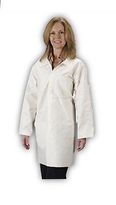(Lot of 3) LAKELAND Industries 07101 - Pyrolon Plus Lab Coat / White - -SIZE MED