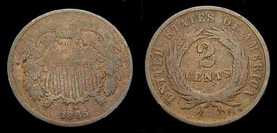 1865 USA Two 2 Cent Piece VG
