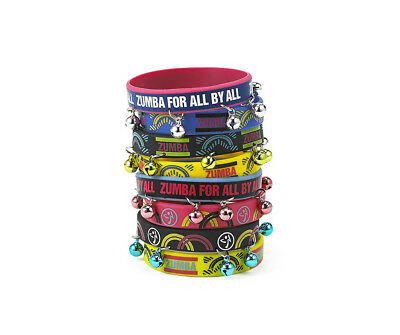 Zumba For All Rubber  Bell Bracelets 8 Pck  NEW with tags