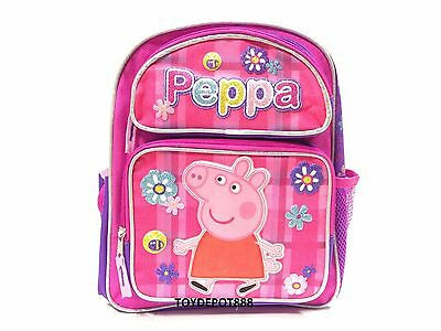 "Peppa Pig Allover Flower Girls 12"" Small Canvas Pink School Backpack Book Bag"