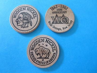 Set Of 3 - West Orange Nj 100Th Anniversary Wooden Nickels - 1962