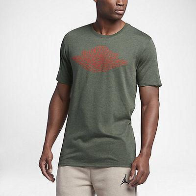 681ee129c38 air jordan Iconic Wings T-SHIRT ARMY HEATHER/MAX ORANGE US MENS SIZES 834476