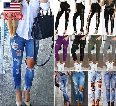 US Womens Skinny Ripped Knee Denim Jeans Pants Pencil Stretch Casual Trousers