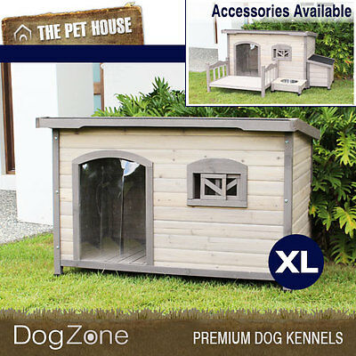 NEW Somerset Extra Large Flat Roof Wooden Dog House Wood Timber XL Kennel