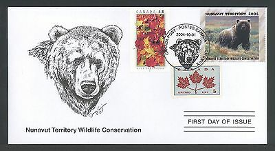 NUNAVUT TERRITORY NUW6d 2004 FIRST DAY COVER FDC GRIZZLY BEAR BY CYNTHIE FISHER
