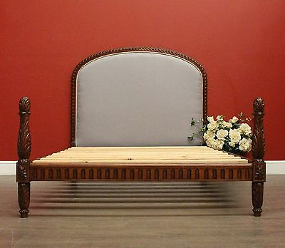 Antique French Oak and Linen Double Bed incl Side Rails, Headboard, Foot, Slats