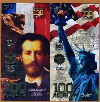 POLYMER SET El Club De La Moneda 100;200 Aguilas 2016, 130 Years Statue Liberty