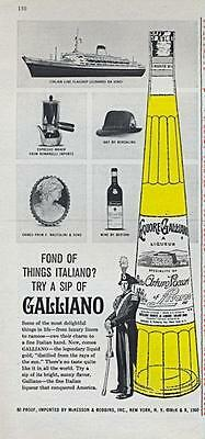 1962 Galliano PRINT AD features cruise ship Leonardo Da Vinci, Romanelli, & more