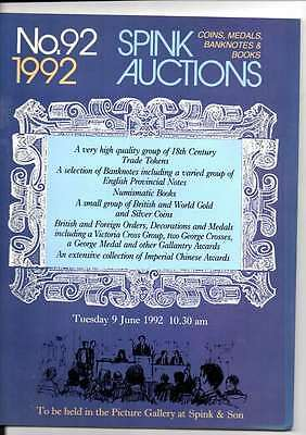 Spink Auction Catalogue No 92 1992 Coins Medals Banknotes And Books