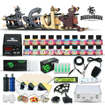 Complete Tattoo Kit 4 Machine Gun Power Supply 56 Color Ink Set Needles D176GD q