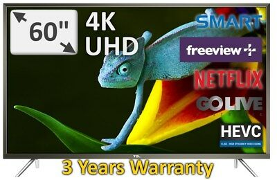 "TCL 60"" Stunning UHD 4K DTS Sound HDR  Model 60P20US Android TV 3 Years Warranty"