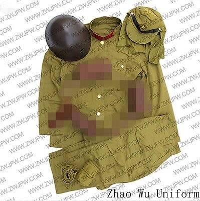 WW2 Japanese Army Type Zhao Wu Soldier Uniform Sets Jacket&Pants Hat Helmet