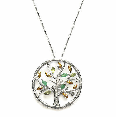 Tree of Life Emerald, Peridot and White Topaz Pendant 925 Sterling Silver Chain