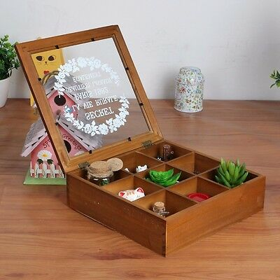 Wooden Chic Spice Tea Box 9 Section Compartments Container Storage Chest Holder
