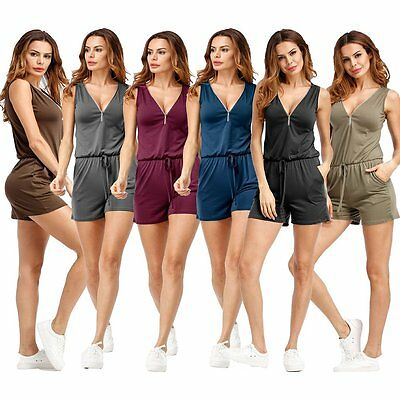 Zipper V Neck Drawstring Short Jumpsuit Women Casual Beach Short Playsuit Summer