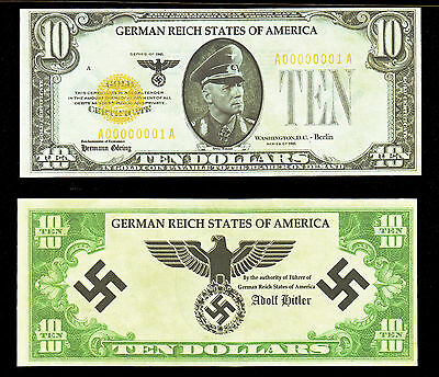 Erwin Rommel, German Reich States of America Unissued Ten Golden Dollars