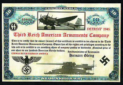 Third Reich American Armaments Company, Unissued 100 Dollar Shares
