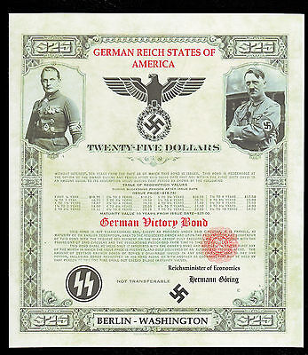 German Reich States of America Victory Bond Unissued 25 Dollars