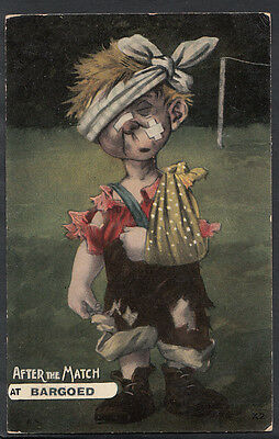 Wales Postcard - Injured Boy After The Match at Bargoed  C1297