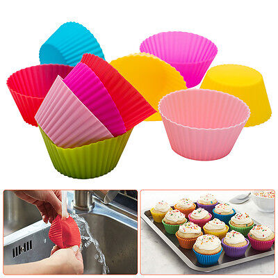 12x Silicone Round Cup Cake Muffin Cupcake Cases Baking Cup Baking Moulds