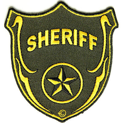Embroidered Sheriff Shield in Yellow Brown Sew or Iron on Patch Biker Patch