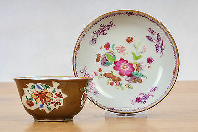 Antique! 18c.Cappucin Famille Rose Tea Cup Saucer Chinese Porcelain Qing China