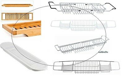 Over The Bath Tub Rack Bath Bridge Organiser Stainless Steel Chrome White Bamboo