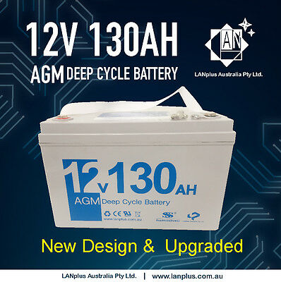 12V130AH AGM DEEP CYCLE BATTERY Caravan Fridge Boat Solar 4WD 24-month warrant