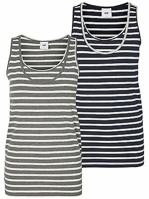 2 pack Stripy Mamalicious Maternity Organic Nursing Vest Tops Breastfeeding