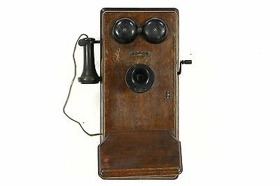 Oak Antique Crank Wall Phone, Signed Western Electric