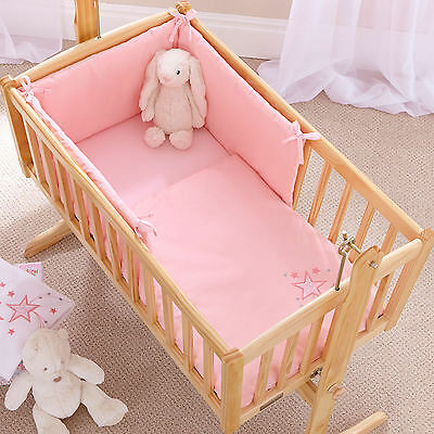 New 4Baby Shooting Star Pink Rocking Crib / Cradle Quilt & Bumper Bedding Set