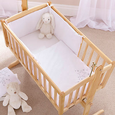 New 4Baby Shooting Star White Rocking Crib / Cradle Quilt & Bumper Bedding Set