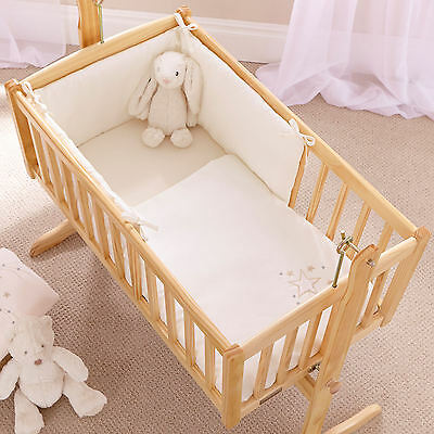 New 4Baby Shooting Star Cream Rocking Crib / Cradle Quilt & Bumper Bedding Set