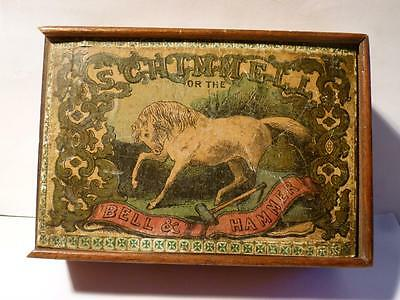 Antique Victorian SCHIMMELL Bell & Hammer Game Box & 5 Picture Cards