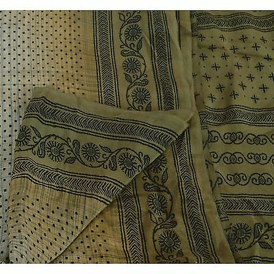 Sanskriti Vintage Indian Printed 100% Pure Crepe Silk Saree Pale Cream Sari